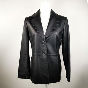 Valerie Stevens Black Leather Jacket/Blazer S